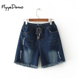 Wholesale Wide Fat Woman - 4XL Plus Size Women Fat Summer Jeans Shorts Denim Shorts Female 2018 Spring Drawstring Low Waist Wide Leg Harem Trousers