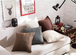 Wholesale Inner Cushions - Confortable pure color pillowcase soft knitting pattern cushion cover pillowslip for home decor sofa not include pillow inner multicolor