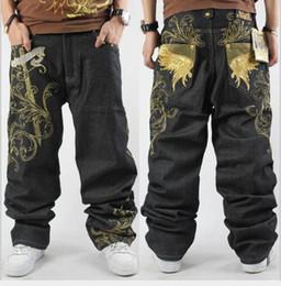 Wholesale European Size 46 - Hip hop black MEN loosme jeans loose style hip hop baggy denim pants men fashion embroidery jeans large size 30-46