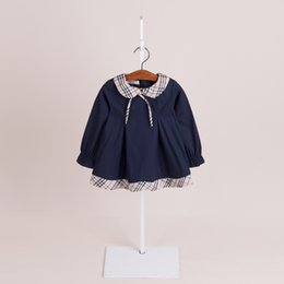 Wholesale Blue Lolita Dress Long Sleeves - Hot sell 2018 NEW arrival spring Girls Kids long Sleeve lapel dress kids causal high quality cotton baby kids bow tie dress free shipping