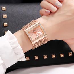 Argentina Reloj de pulsera de cuarzo de las mujeres Reloj de pulsera de oro Crytstal Pulsera de diamantes de imitación Rectangle Dial Mujeres Reloj de cuarzo relogio feminino supplier rectangle rhinestone Suministro