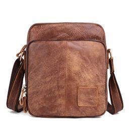 Nesitu Vintage Brown Coffee Genuine Leather Cross Body Small Men Messenger  Bags For Mini ipad Real Skin Male Shoulder Bags M6423 119bdb99c3696