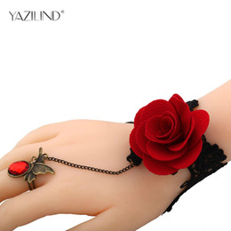 Wholesale Vintage Red Rose Bracelet - whole saleYAZILIND Jewelry Vintage Handmade Gothic Style Bracelet with Red Rose Flower Lace Bracelet Ring Set B049