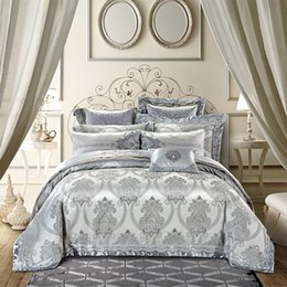 Gold silver color  royal Bedding sets 4/6/9pcs king queen size embroidery cotton satin jacquard bed sheet set duvet cover от