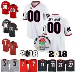 1bc998e08 Georgia Bulldogs Custom College Football Jerseys Any Name   4 Hardman Jr.  11 Fromm 27 Nick Chubb Rose Bowl 2018 Championship Black Red White