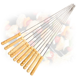 Wholesale Stainless Steel Barbecue Skewers - Stainless Steel Camping Barbecue Wood Handle 35 cm Length Round Barbecue Skewers Adjustable Roasting BBQ Tools More Size
