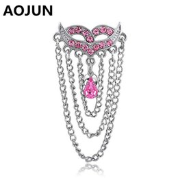 Wholesale Female Body Jewelry - AOJUN Female Mask Tassel Navel Piercing Rings Surgical Steel Crystal Reverse Belly Button Ring Body Jewelry for Women QH645