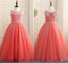 Wholesale Kids Pageant Puffy Gowns - 2018 Coral Girls Pageant Dresses Princess Puffy Ball Gown Tulle Jewel Crystal Beading Kids Flower Girls Dresses Birthday Gowns