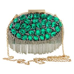 Wholesale Handmade Purse Crystal - Design Evening Bag Handmade Emerald Green Stone Tassels Crystal Luxury Clutch Bag Diamond Ladies Handbags Party Wedding Purse