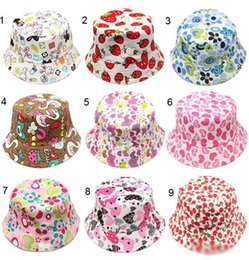 Wholesale childrens summer hats - 30 Colors Kids Baby Bucket Hats Girls Floral Sun Basin Canvas Hat Childrens Casual Fisherman Caps Cartoon Beach Hat Infant Headwear