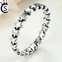 Wholesale Trail Wedding - Star Trail Stackable Finger Ring For Women Wedding 100% S925 Sterling Silver Jewelry 2018 HOT SELL Pandora style