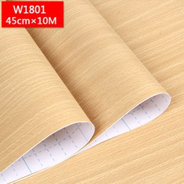 Wholesale solid wood wardrobes furniture - New Self-adhesive waterproof furniture renovation wooden wall paper dormitory bedroom wallpapers wardrobe bedroom door stickers