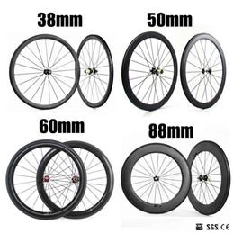 Wholesale Wheel Set Carbon Bike - 2018 NEW 700C 38mm 50mm 60mm 88mm Depth 23mm Width Clincher Tubular Carbon Wheels Novatec271 372 Hub Bike Wheelset Carbon Bicycle Wheels