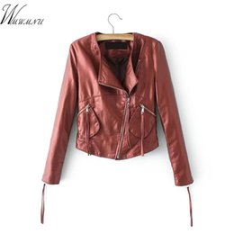 Wholesale Motorcycle Colours - Wmwmnm new design offemale motorcycles pu leather jacket 2018 fashion 5 colour Ribbons zipper artificial leathe woman jacket