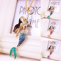 Wholesale birthday sweater - 3 Styles Creative Fashion Elegant Charming Mermaid Necklace Sweater Chain For Women Girl Birthday Gift Free DHL D998Q