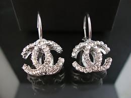 Wholesale silver drop earrings balls - Factory Sell High Quality Luxury Pearl diamond perfume bottle Earrings Fashion metal Letter earrings With Box