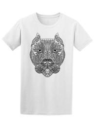 df2446eef7 Cool Pitbull Preto Branco Rosto T dos homens T Camisa do Tópico Quente  Homens de Manga Curta Moda Impressão T shirt Plus Size