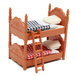 Wholesale kids christmas bedding sets - KiWarm Cute 1 Set Miniature Dolls House Furniture Bunk Bed Figurines Ornaments for Home Kids Room Decor Toy Doll Christmas Gift