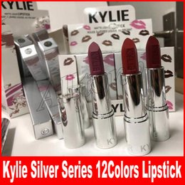 Wholesale Christmas Cosmetics - New Kylie jenner holiday cosmetic silver series swipe pigment 12 colors lipstick for christmas Valentine's Day