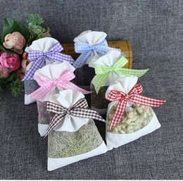 Wholesale Wedding Cosmetic Bags - Cotton Organza Incense Bag Lavender Sachet Linen Package Bags Jewelry Cosmetic Storage Pouch Package Gift wen5066