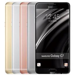 5.7 telefono di androide octa nucleo online-Ricondizionato Originale Samsung Galaxy C7 C7000 Dual SIM 5,7 pollici Octa Core 4 GB RAM 32/64 GB ROM 16MP 4G LTE Android Smart Phone DHL libero 5 pz