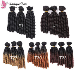 Wholesale synthetic curly hair wefts - Syntheitc Hair Wefts Hair Weave Loose Wave 8 9 10 inch Human Similar Synthetic Fiber Funmi spring bouncy hair Extensions 3pcs set 200g