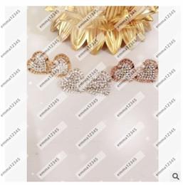 Amor corazón diamantes tachuelas online-Diamond Fashion Brand m Love heart Stud Pendientes de Alta Calidad Cristal Plata Oro Rosa colores joyería fina Para Mujeres niñas Envío Gratis