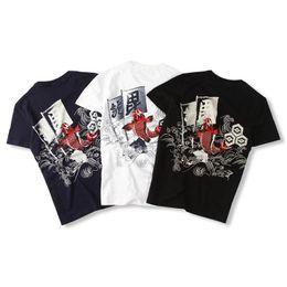 Wholesale Blue Carp - 100% Cotton Summer Japanese National Wave Brand BRM Burst Rotten Carp Printing Men's Short-sleeved T-shirt & Tee