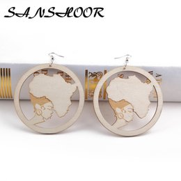 Wholesale ear painting - wholesale Mama Africa Wooden Earrings Plus Motherland Map With Silver Ear Hook Fit Painting Design For Lady Women 5Pairs