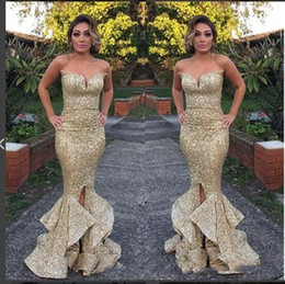 Wholesale Sequined Designer Evening Dresses - 2018 Charming Designer Bling Gold Sequined Mermaid Prom Dresses Sweetheart Open Back Ruffles Sweep Train Formal Evening Gowns Pageant Dress