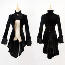 Wholesale Dovetail Dresses - Punk Fashion Men's Gothic Swallowtail Long Coat Steampunk Palace Black Slim-fitting Gentleman Dress Jacket Party Prom Tuxedo