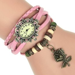 Wholesale Vintage Red Rose Bracelet - Gnova Platinum Leather Bracelet Watch Crystal Rose charm Vintage Ethnic Flower wristwatch Fashion Geneva Style A033