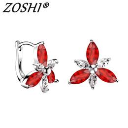 Wholesale hoop crystal earings - High Quality Silver Hoop Earrings For Women Colorful Crystals Zircon Earing Brinco Birthday Valentine Gift Jewellery Earings