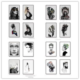 Wholesale Portrait Painting Art - Black White Female Portraits Wall Photo Art Cloth, Indian Hair Feather Girl Poster Canvas Painting Native Home Decor