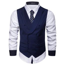 Más el tamaño del chaleco para hombre de la moda coreana de los hombres delgado con cuello en v chaleco de la chaqueta del negocio ocasional delgado para hombre del novio de los smokinges del chaleco J180749 desde fabricantes
