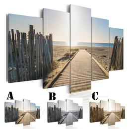 Pittura ad olio sul mare online-5 pz / set Wall Art Immagine Stampata Pittura A Olio su Tela Senza Cornice Home Decor Legno Road to the Seaside
