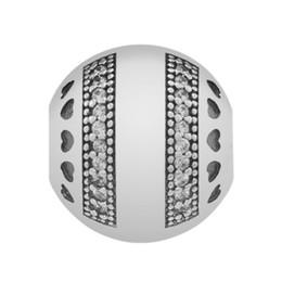 pandora charms serrure en argent sterling 925 Promotion Authentique 925 Sterling Silver Pan Logo Coeurs Avec Clip En Cristal Serrure Stopper Perle Charme Fit Pandora Bracelet Bracelet DIY Bijoux Accessoires