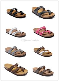Wholesale Hot Hotels - Mayari Arizona Gizeh 2017 Hot sell summer Men Women flats sandals Cork slippers casual shoes Pink Black White Brown colors size 34-46