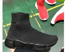 Buena calidad Rojo negro Speed Trainer Calzado casual Hombre Mujer Calcetines Botas con caja Stretch-Knit Casual Botas Race Runner Sneaker barato de alta desde fabricantes