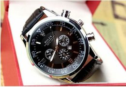 Wholesale watch for men leather - Hot Style Hot fashion Casual Sport watch men Quartz Watches Men's Leather Wristwatches Clock Relogio Super gift for men
