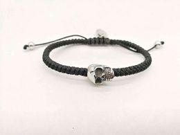 Wholesale men braids designs - New Original Design Bracelet for Men Women Braided Wax Cord with Stainless Steel Skull Head Fashion Jewelry Lemon818