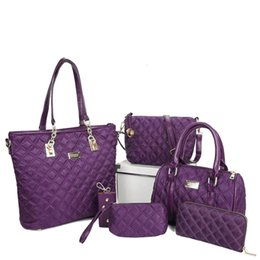 Wholesale Purple Glitter Purse - Pink sugao luxury bag shoulder lattice nylon 6pcs set fashion designer handbag tote bag crossbody bag women messenger purses with wallet