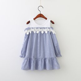 Wholesale Crochet Kids Clothes - Spring Kids girls Crochet Lace Floral Dresses Baby Girls Striped Dress Girls fashion Off-shoulder Dress 2018 Kids clothing