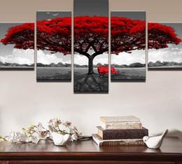 paisagem vermelha das árvores da lona Desconto Home Decor HD Impresso Fotos Da Arte Da Parede 5 Peça Red Tree Art Cenário Paisagem Pintura Da Lona Home Decor Para Sala de estar PENGDA