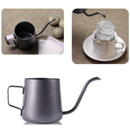 Wholesale Metal Hot Straws - Mini Stainless Steel Hanging Ear Hand Blunt Coffee Pot Of Coffee Teflon Cappuccino Art CupWith elegant curves of the long-necked