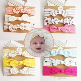 Wholesale Printed Gift Cards - Baby girl Headband Unicorn Mermaid hair accessories Knot Bows Bunny band Birthday gift Flowers Geometric Print 3pcs card Boutique