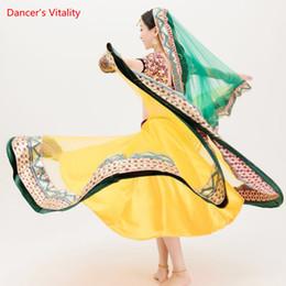 ef1e9e1b666a7 Paillettes ricamo di lusso India abiti da ballo top completo di prestazioni  + grande gonna swing + velo 3pcs set per adulti costumi di danza del ventre  a ...