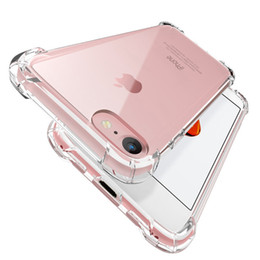 Wholesale iphone 5s cover silicone - Air Cushion Shockproof Clear Soft Silicone TPU Anti Knock Transparent 1.5MM Crystal Rubber Protective Cover Case For iPhone X 8 7 Plus 6S 5S