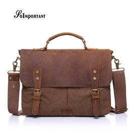 Genuine Leather Oil Wax Canvas Men Bags Male Crazy Horse Handbags Men s  Crossbody Messenger Travel Bags Tote Laptop Briefcases a0ee78bd129fc