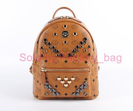 Wholesale Top Girls Backpack - YYE Brand Designer Backpack for Men Women Rivet Punk Style Laptop Backpack Top Quality Stark Rucksack Fashion School Bag Satchel Brown